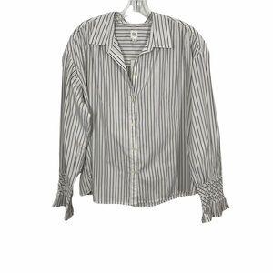 Gap Striped Button Down Top Grey and White Size XL